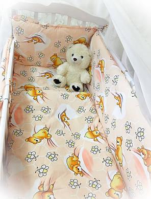 Бортики в детскую кроватку защита бампер Бежевый для новорожденных, фото 2