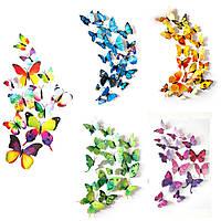 (12 шт) Набор бабочек 3D на магните, МИКС НАБОРОВ