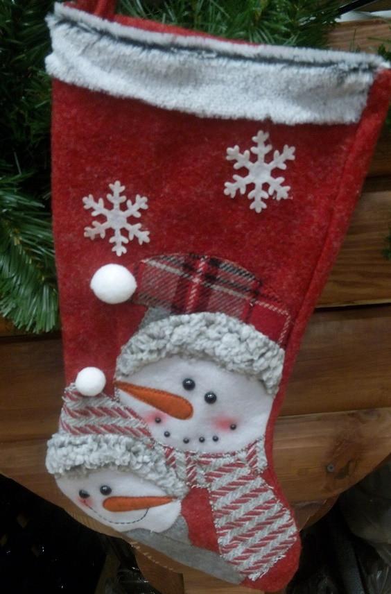 Новогодний чулок (сапожок) красный Снеговик