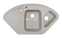 Угловая гранитная мойка для кухни с двумя чашами Argo Trapezio Ivory 1060*575*190 (слоновая кость)