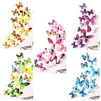 (12 шт) Набор бабочек 3D (на скотче), МИКС наборов