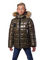 "Зимняя тёплая куртка-подросток для мальчка "" Марк"" (134-152) хаки"