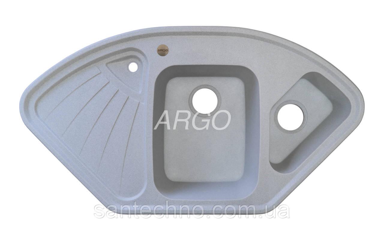 Угловая гранитная мойка для кухни с двумя чашами Argo Trapezio Grey 1060*575*190 (серая)
