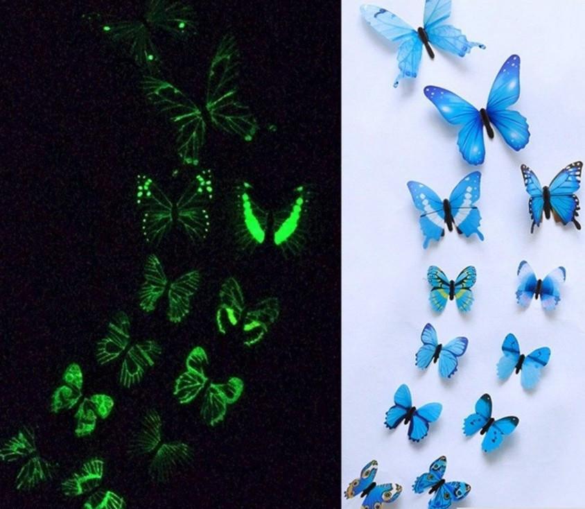 (12 шт) Набор бабочек 3D (на скотче), СВЕТЯЩИЕСЯ СИНИЕ с рисунком