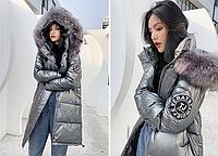 Куртка зимняя женская серый металлик
