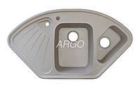 Угловая гранитная мойка для кухни с двумя чашами Argo Trapezio Avena 1060*575*190