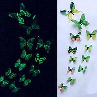 (12 шт) Набор бабочек 3D (на скотче), СВЕТЯЩИЕСЯ ЗЕЛЕНЫЕ с рисунком