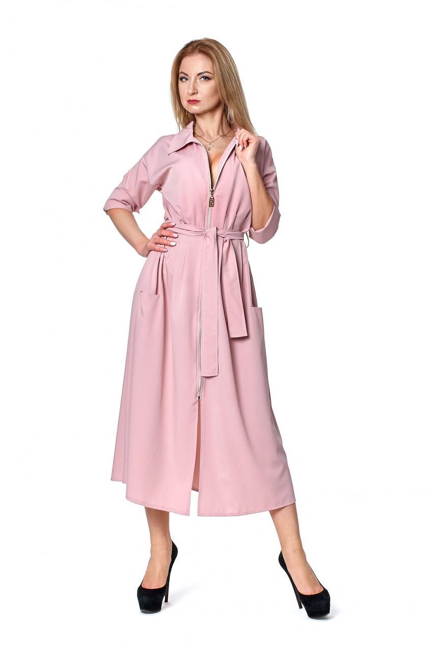 Модное офисное длинное платье с воротником 42-48.