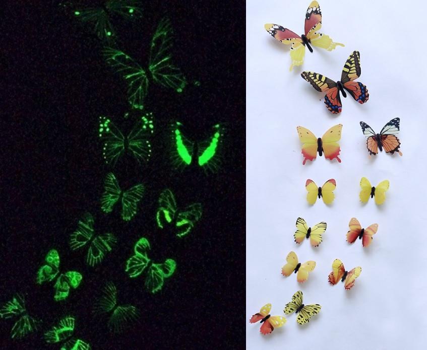 (12 шт) Набор бабочек 3D (на скотче), СВЕТЯЩИЕСЯ ЖЕЛТЫЕ с рисунком