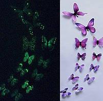 (12 шт) Набор бабочек 3D (на скотче), СВЕТЯЩИЕСЯ ФИОЛЕТОВЫЕ с рисунком