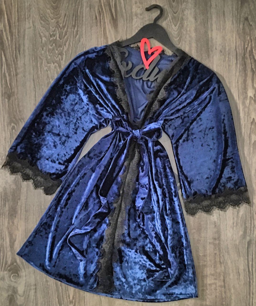 Мягкий велюровый халат под пояс. Женская одежда для дома и отдыха.
