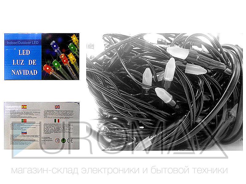 Гирлянда с черным проводом и матовой лампой 200LED (белый) 80шт LED200W-3