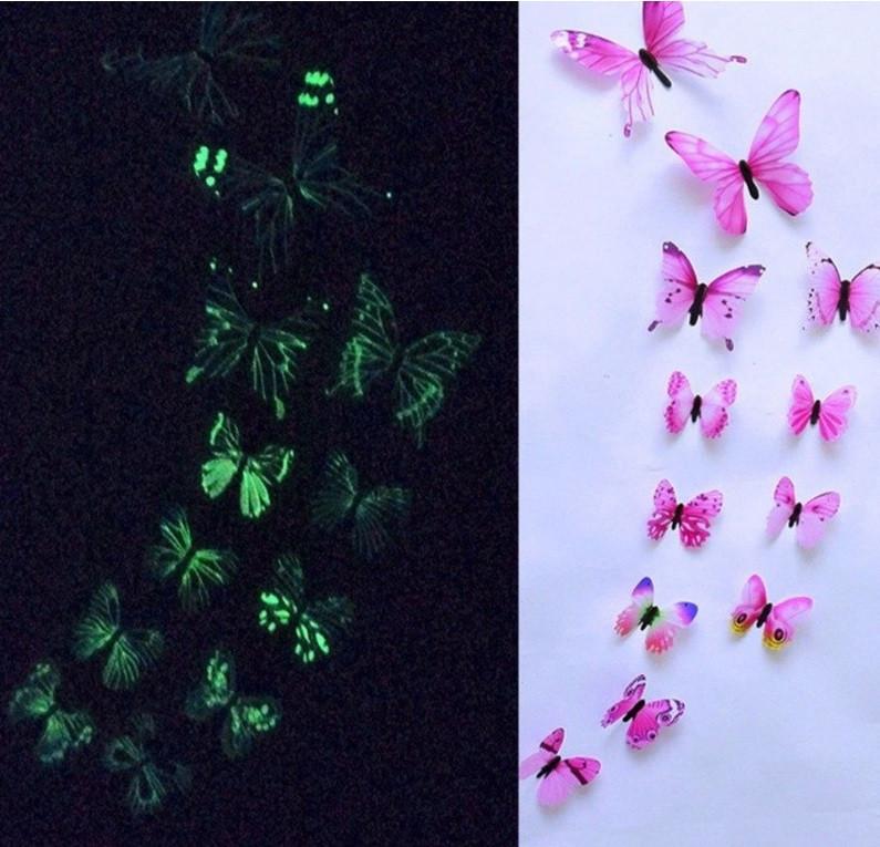 (12 шт) Набор бабочек 3D (на скотче), СВЕТЯЩИЕСЯ РОЗОВЫЕ с рисунком