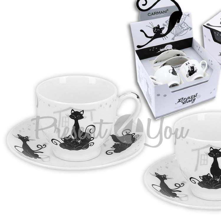 Подарочный набор 2 чашки + 2 блюдца 'Кошка с кошенятамии' (100 мл) (017-3005)