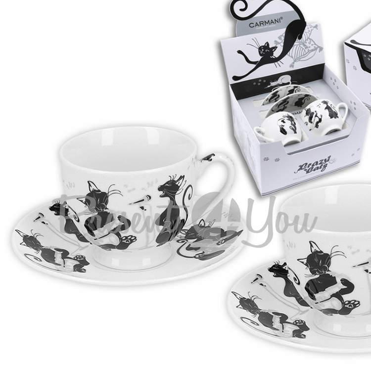 Подарочный набор 2 чашки + 2 блюдца «Кошка на подушке» (100 мл) (017-3007)
