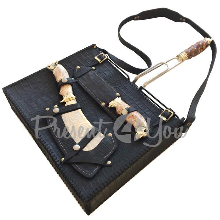 Набор для барбекю в кожаной сумке (решетка 30х38 см, 30 см, широкий нож 33 см) (187-2030)