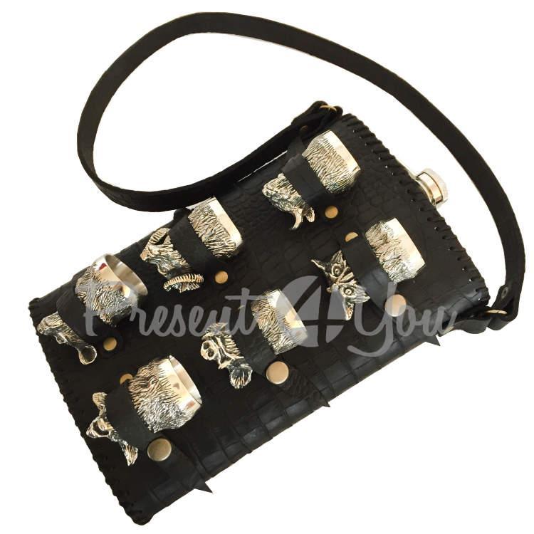 Набор «Дикие животные» в кожаной сумке (фляга 28х19х5 см, рюмки 6шт 50 мл) (187-2040)
