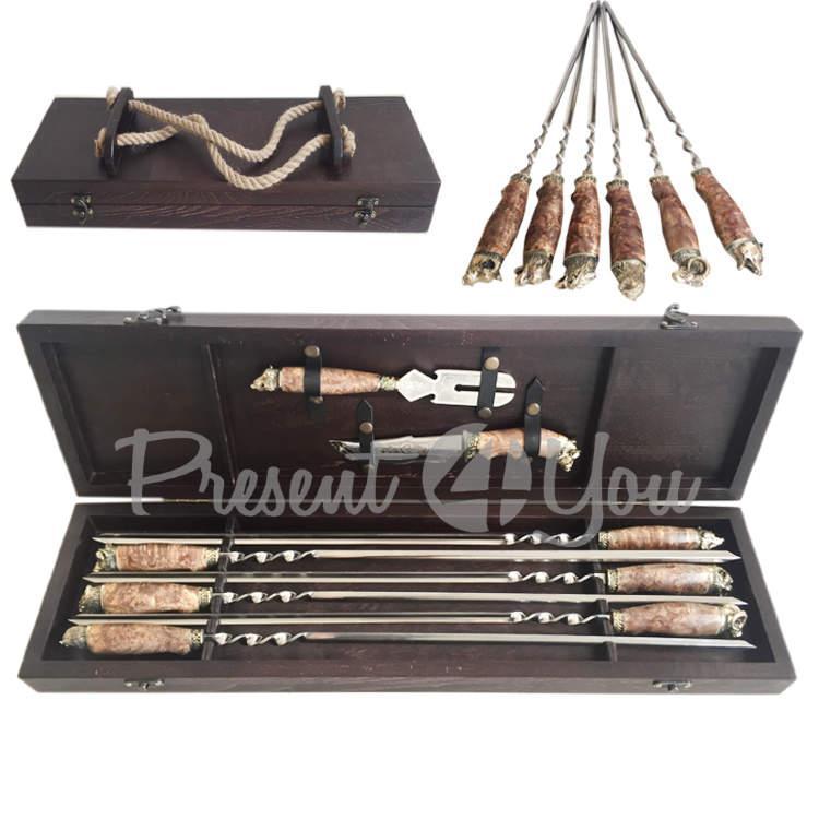 Набор для шашлыка в деревянном кейсе «Дикие животные» с ножом и вилкой (6 шт) (187-2015)