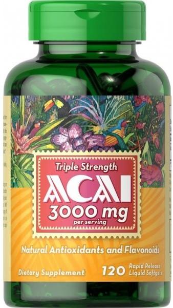 Мощный антиоксидант Puritan's Pride - Triple Strength Acai 3000 мг (120 капсул)