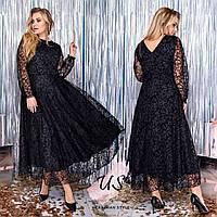 Батальное черное вечернее платье с гипюром., фото 1