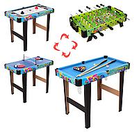 Детская настольная игра для ребенка 4 в 1 (хоккей,теннис,бильярд,футбол) 6008-4