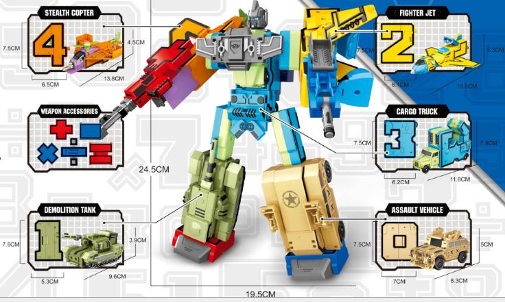Трансформер Cipherbot Цифры 8181 10 в 1, робот, транспорт, цифра