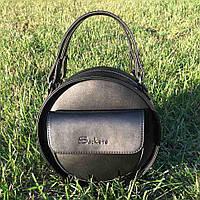 Женская, стильная, круглая черная сумка ( код: IBG086B )