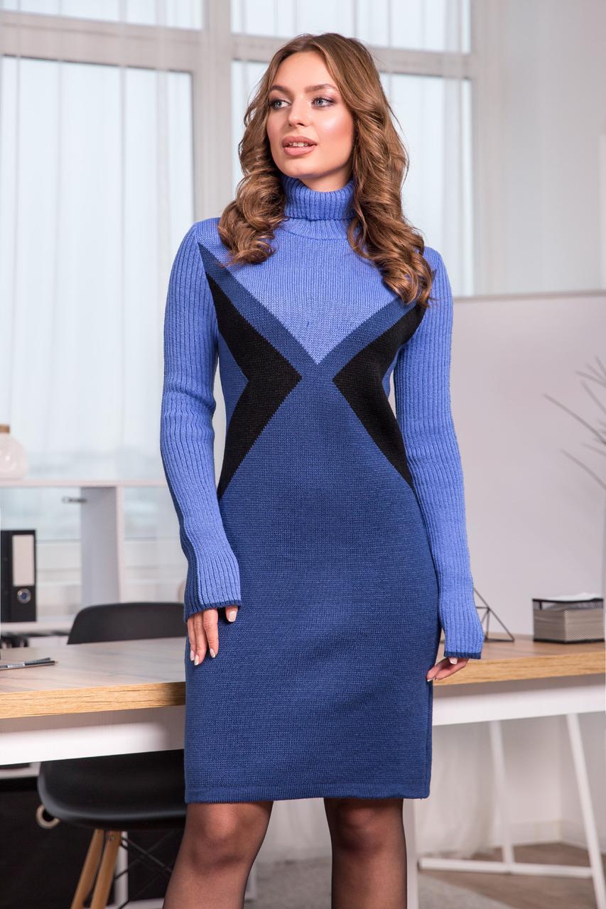 Теплое вязаное платье «Конвертик», 42-48