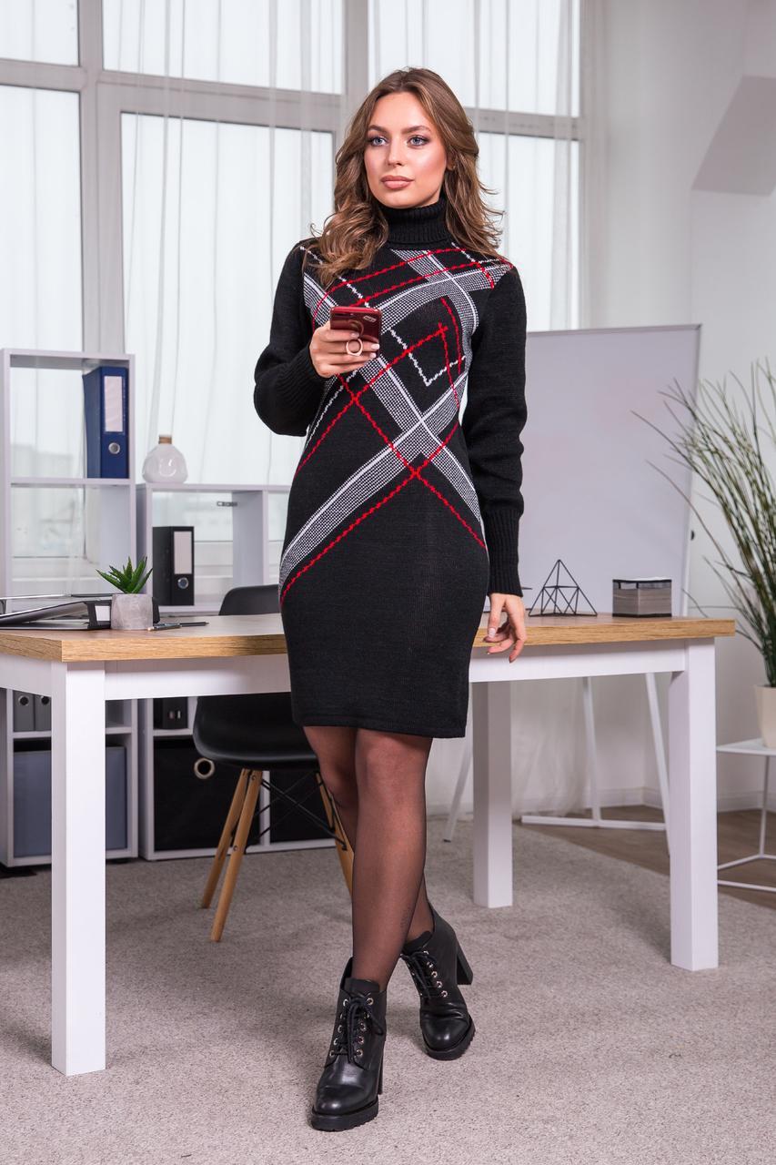 Теплое вязаное платье «Клетка», 42-48