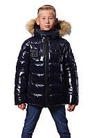 """Зимняя тёплая куртка-подросток для мальчка """" Марк"""" (134-152) чёрный"""