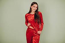 Красный велюровый костюм: брюки и свитер, фото 2