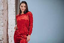 Красный велюровый костюм: брюки и свитер, фото 3