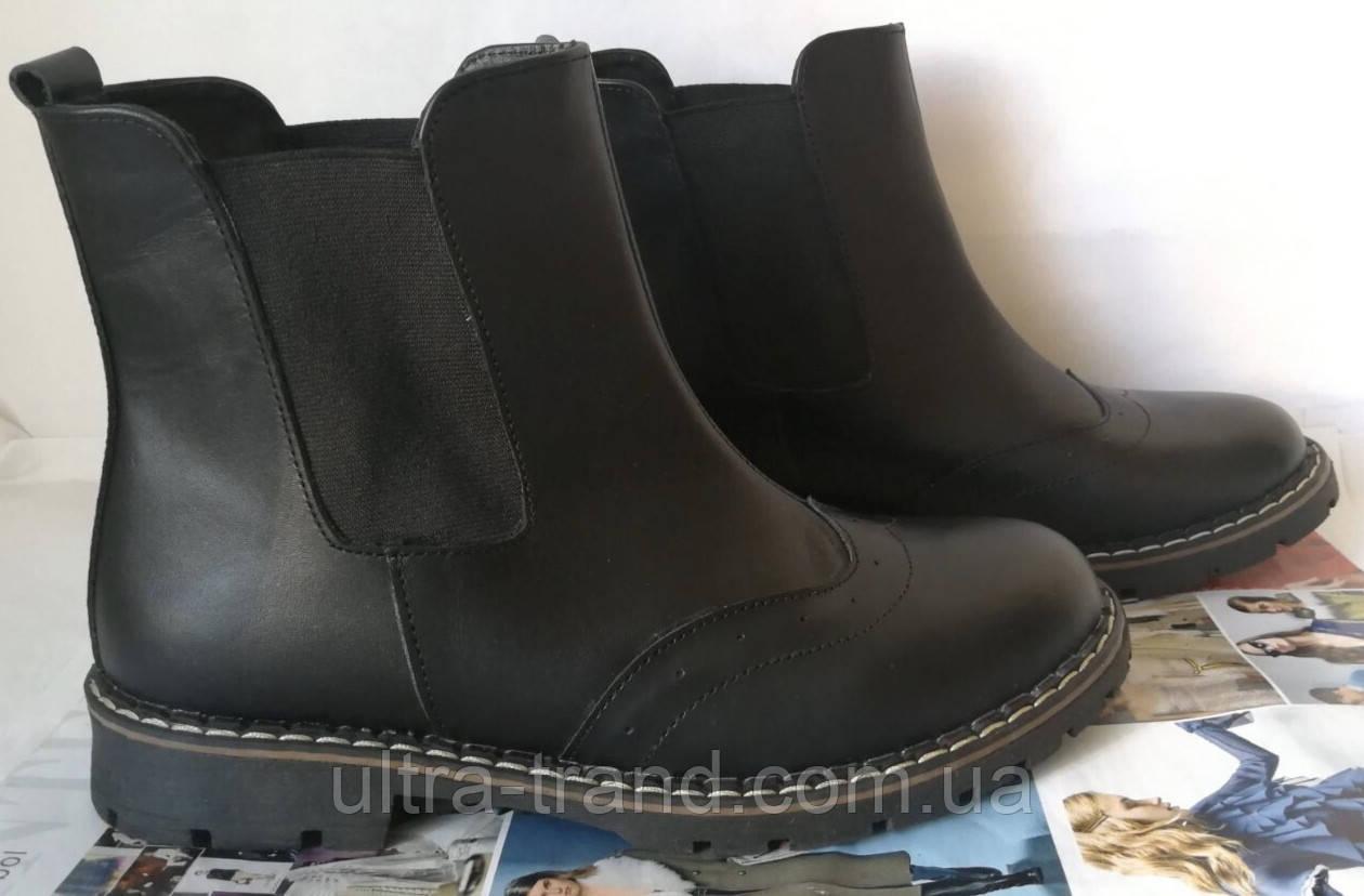 Женские кожаные ботинки  Timberland черная кожа мех зима