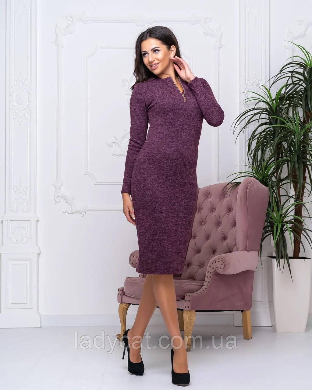 Женское теплое платье из ангоры бордового цвета