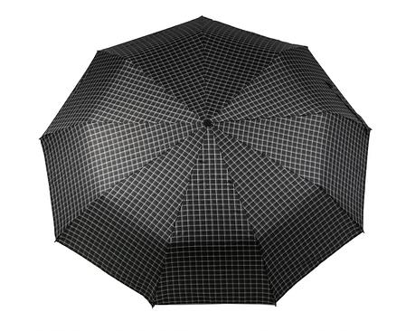 Зонт складной, автомат, 9 спиц, черный в клетку, фото 2
