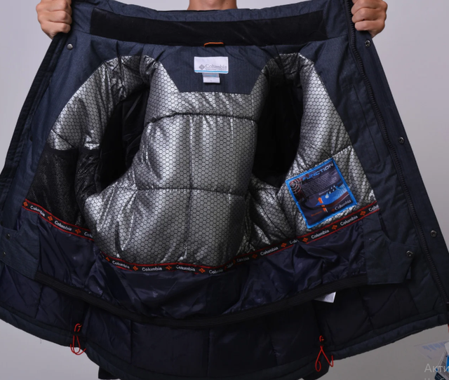 Куртка зимняя Columbia Omni-Heat горнолыжная серая внутри