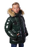 "Зимняя тёплая куртка-подросток для мальчка "" Марк"" (134-152) зелёный"