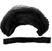 Шапочка Шарлотка одноразовая (гармошка), черная,100 шт