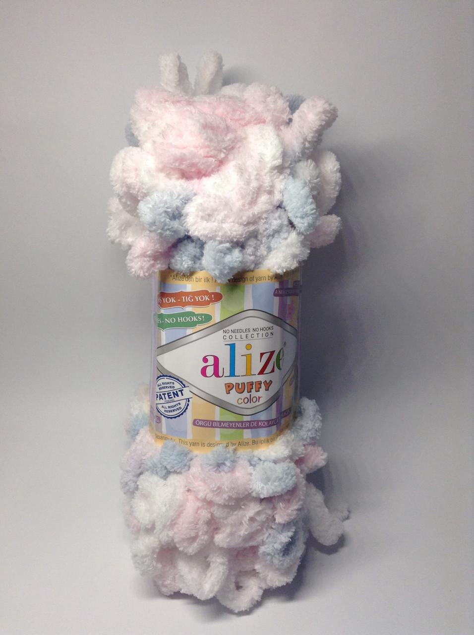 Пряжа для вязания руками без спиц Puffy color  Alize (100 грамм - 9 метров)