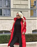 Женская зимняя куртка-пальто (плащёвка+синтепон 300) цвет красный.
