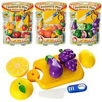 Продукты 9805-06 (96шт) на липучке(овощи,фрукты), досточка, нож, 4 вида, 25-35-4см