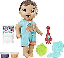 Baby Alive Інтерактивна лялька пупс супер перекус хлопчик Люк брюнет Super Snacks Snackin