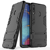 Чехол Hybrid case для Samsung Galaxy A20s (A207) бампер с подставкой черный