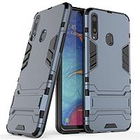 Чехол Hybrid case для Samsung Galaxy A20s (A207) бампер с подставкой темно-синий