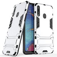 Чехол Hybrid case для Samsung Galaxy A20s (A207) бампер с подставкой светло-серый