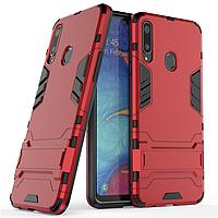 Чехол Hybrid case для Samsung Galaxy A20s (A207) бампер с подставкой красный