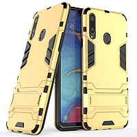 Чехол Hybrid case для Samsung Galaxy A20s (A207) бампер с подставкой золотой