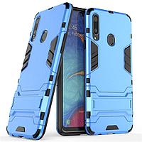 Чехол Hybrid case для Samsung Galaxy A20s (A207) бампер с подставкой голубой