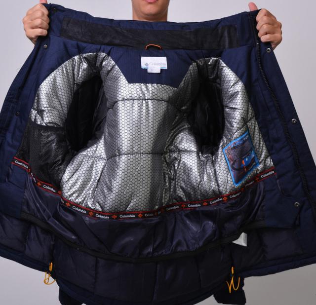 Куртка мужская зимняя Columbia Omni-Heat горнолыжная синяя внутри