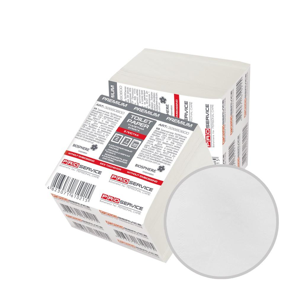 Туалетная бумага в листах 2х-слойная белая 300 листов в упаковке PRO Service Premium